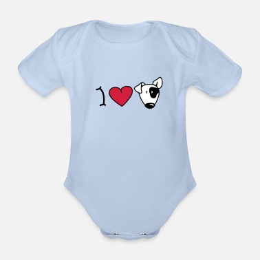 Bull Terrier I love dogs - Body bébé bio manches courtes
