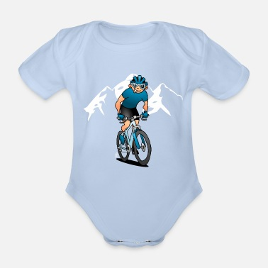 Mountainbike MTB - Mountainbiker in den Bergen - Baby Bio-Kurzarm-Body