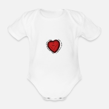 Heart design love hand made - Organic Short-Sleeved Baby Bodysuit