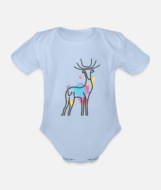Stag Baby Bodysuits - paint stag - Organic Short-Sleeved Baby Bodysuit sky