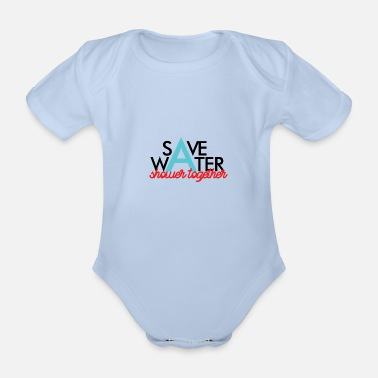 Cat Friend Please save water, it is important - Organic Short-Sleeved Baby Bodysuit
