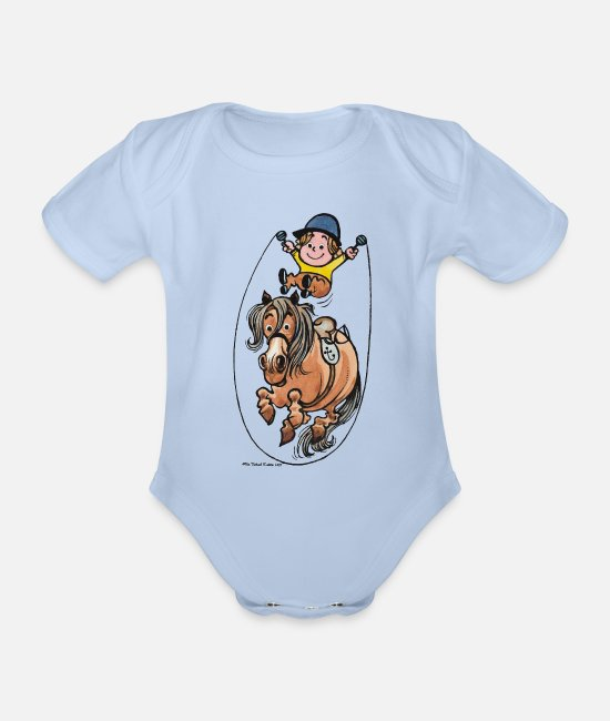 Drawing Baby Bodysuits - Thelwell Funny Rope Jumping Horse And Rider - Organic Short-Sleeved Baby Bodysuit sky