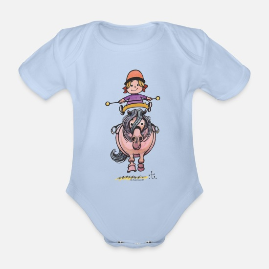 Norman Baby Clothes - Thelwell Rider Balancing On Cute Horse - Organic Short-Sleeved Baby Bodysuit sky