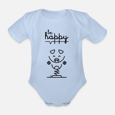 Message Pig message - Organic Short-sleeved Baby Bodysuit