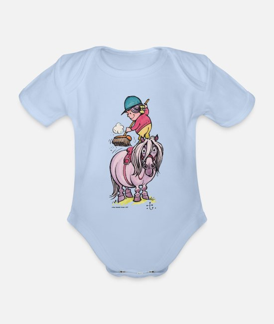 Thelwell Baby Clothes - Thelwell Rider Cleaning Their Horse - Organic Short-Sleeved Baby Bodysuit sky