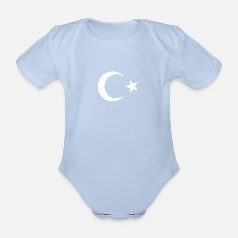 Türkei Baby Clothing - Ay Yildiz - Short-Sleeved Baby Bodysuit sky