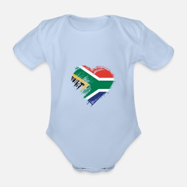 Africa Grungy I Love South Africa Heart Flag - Organic Short-Sleeved Baby Bodysuit