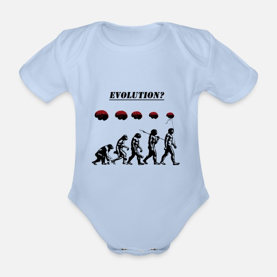 Stencil Baby Clothes - Evolution? - Organic Short-Sleeved Baby Bodysuit sky