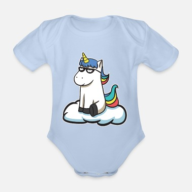 Pony great cool and colorful unicorn with sunglasses - Organic Short-Sleeved Baby Bodysuit