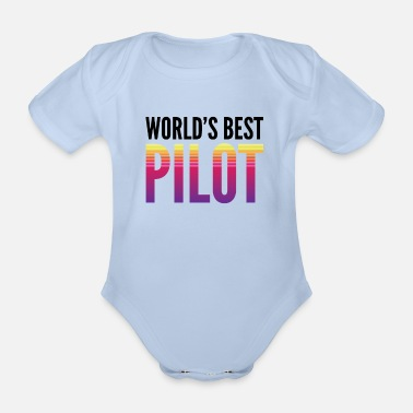 Traffic World's best pilot - Organic Short-Sleeved Baby Bodysuit
