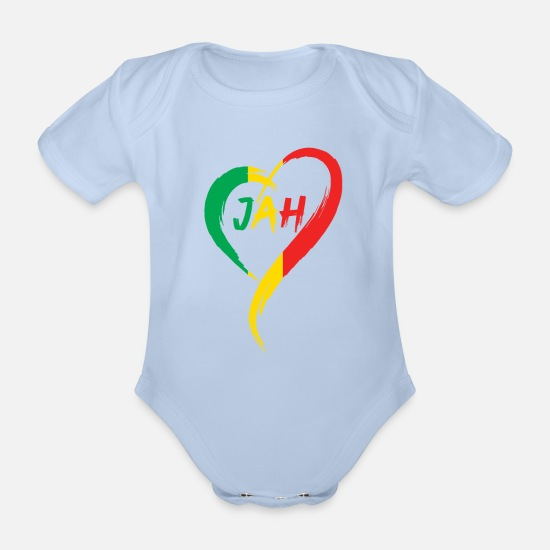 Love Baby Clothes - Love Jah Print Rasta Reggae flag Heart Gift for - Organic Short-Sleeved Baby Bodysuit sky