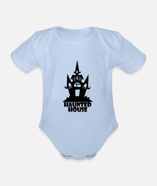 October Baby Clothes - Haunted House - Organic Short-Sleeved Baby Bodysuit sky