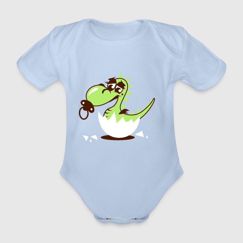 A small dragon baby with pacifier - Organic Short-sleeved Baby Bodysuit