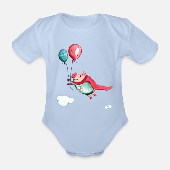 Baby Shower Baby Clothes - Supermetti - Organic Short-Sleeved Baby Bodysuit sky