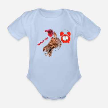 Cock Crowing Wake up, the cock crows - Organic Short-Sleeved Baby Bodysuit