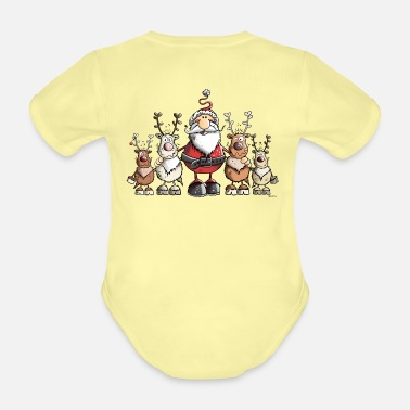Christmas Santa Claus with reindeer - Organic Short-Sleeved Baby Bodysuit