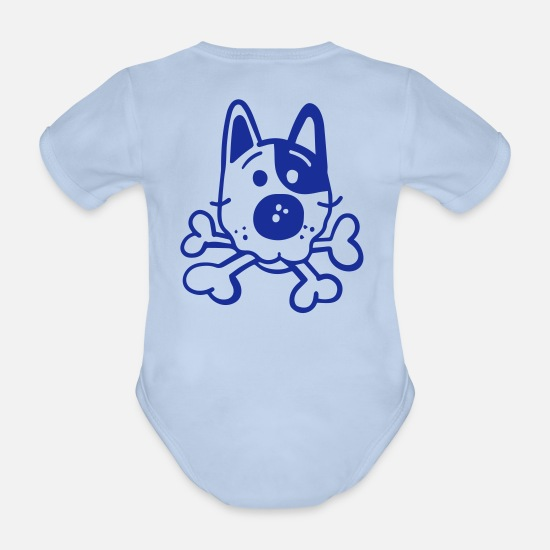 Animal Baby Clothes - Dog with bones - Organic Short-Sleeved Baby Bodysuit sky