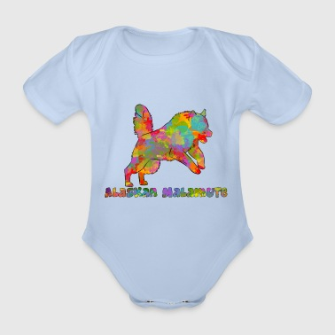 Alaskan Malamute Multicolored - Organic Short-sleeved Baby Bodysuit