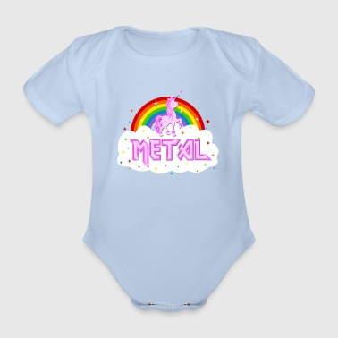 metal music heavy unicorn rainbow funny - Organic Short-sleeved Baby Bodysuit