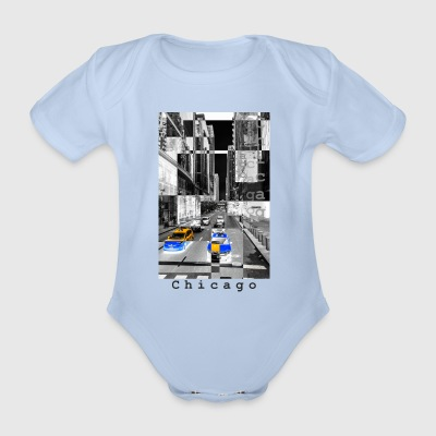 Chicago Monochrome Negative - Organic Short-sleeved Baby Bodysuit