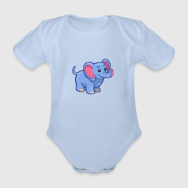 Sweet Elephant - T-Shirt Design - Organic Short-sleeved Baby Bodysuit