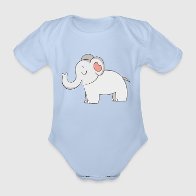 elephant - Organic Short-sleeved Baby Bodysuit