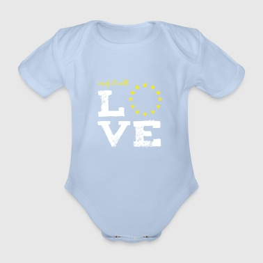made it with love EU europe babybirth taufe star - Organic Short-sleeved Baby Bodysuit