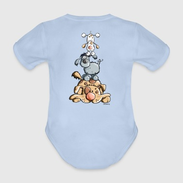Funny Dog Tower - Organic Short-sleeved Baby Bodysuit