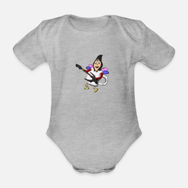 guitarist mug fairy - Organic Short-Sleeved Baby Bodysuit