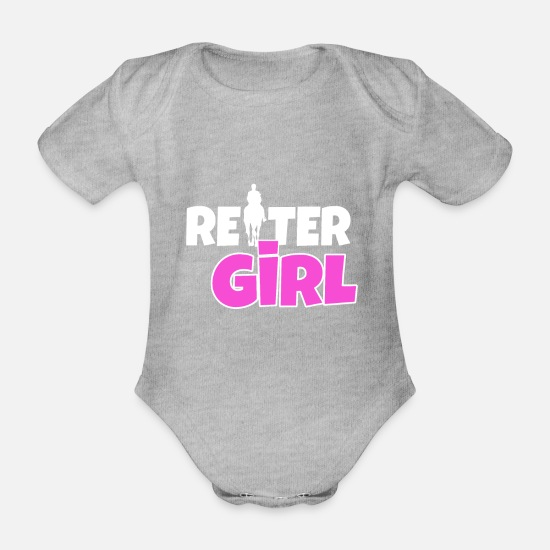 Gift Idea Baby Clothes - rider gril rider horse tunier stall - Organic Short-Sleeved Baby Bodysuit heather grey