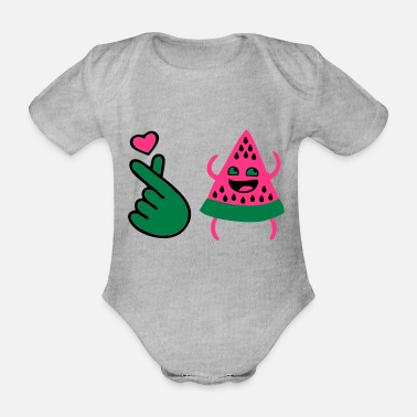 Naughty ❤I Love Watermelon-Best Hot Summer Fruit❤ - Organic Short-Sleeved Baby Bodysuit