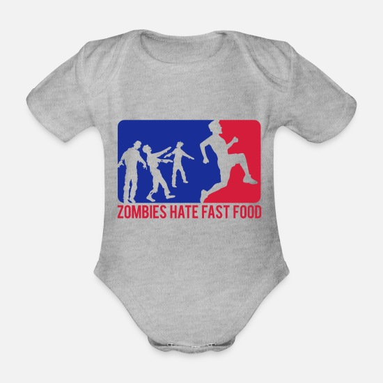 Halloween Baby Clothes - Zombies Hate Fast Food Sport Logo - Organic Short-Sleeved Baby Bodysuit heather grey