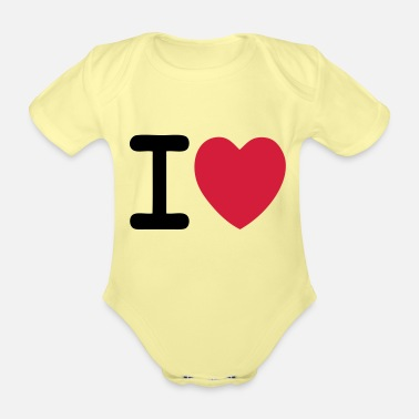 I Love I love I love custom - Organic Short-Sleeved Baby Bodysuit