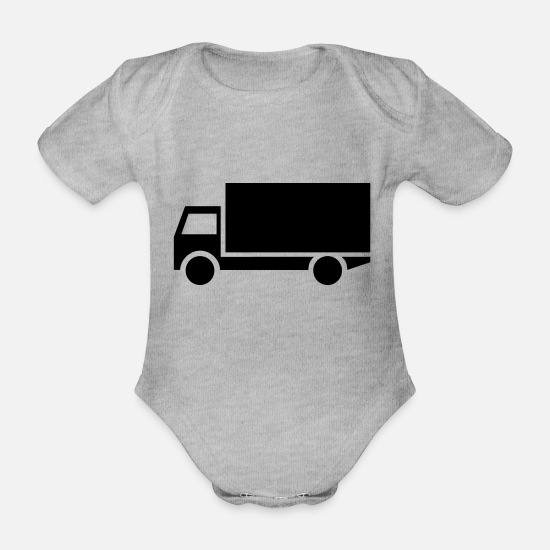 Craftsman Baby Clothes - truck,vehicle,mode of transport - Organic Short-Sleeved Baby Bodysuit heather grey