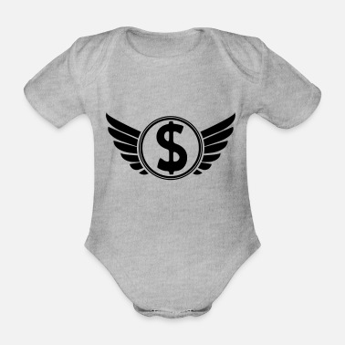 Dollar Sign money_wappen_02 - Organic Short-Sleeved Baby Bodysuit