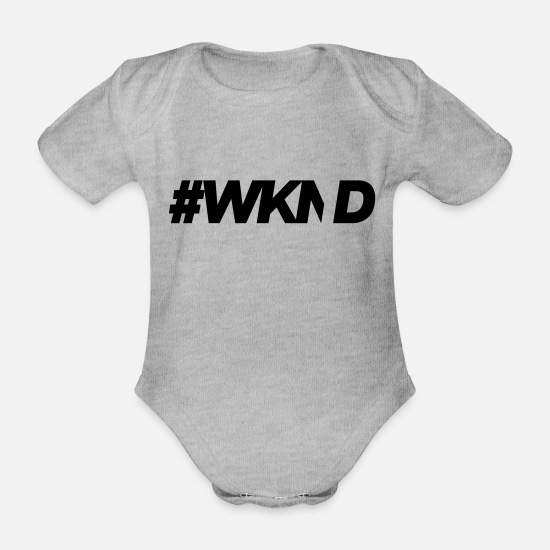 Good Mood Baby Clothes - #WKND - Organic Short-Sleeved Baby Bodysuit heather grey