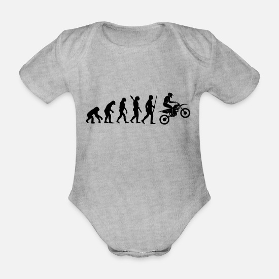 Motorcycle Baby Clothes - MOTORCYCLE EVOLUTION - Organic Short-Sleeved Baby Bodysuit heather grey