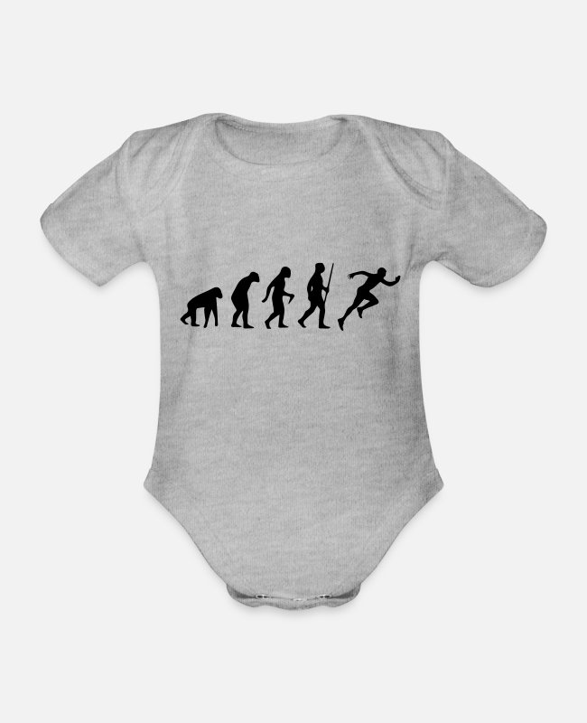 Runner Baby Bodysuits - SPRINTER EVOLUTION! - Organic Short-Sleeved Baby Bodysuit heather grey