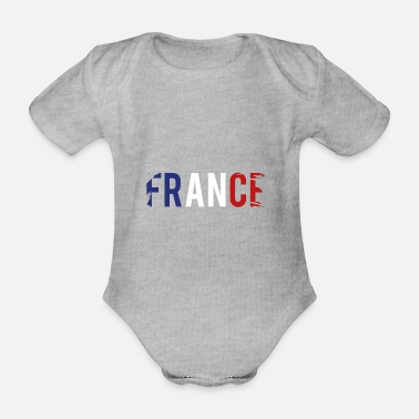 Baguette France 3 colors national colors gift - Organic Short-sleeved Baby Bodysuit
