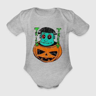 Halloween Frankenstein pumpkin costume gift - Organic Short-sleeved Baby Bodysuit