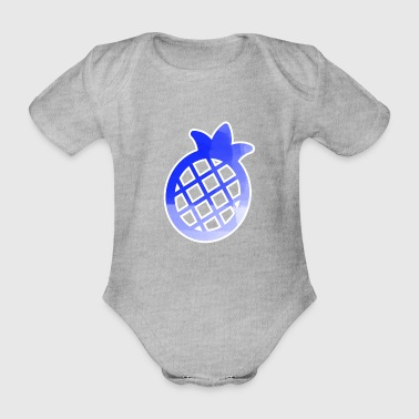 Blue Pineapple Pictogramm Stancel - Organic Short-sleeved Baby Bodysuit