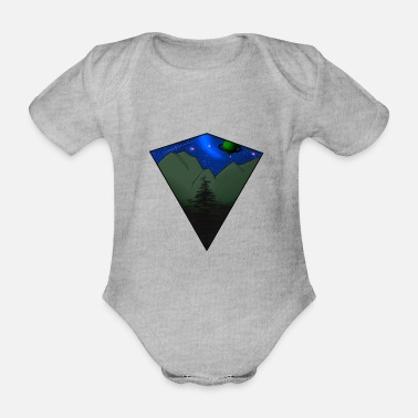 Colorful Galaxy, Stars and Mountains - Baby Bio Kurzarmbody