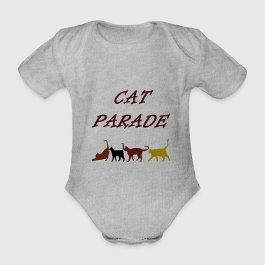 cat parade, cats, pet, animal, parade, colorful - Organic Short-sleeved Baby Bodysuit