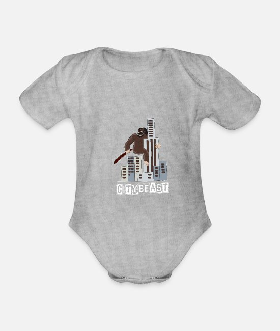 Chaos Baby Bodysuits - citybeast city Kaot monkey king gorilla - Organic Short-Sleeved Baby Bodysuit heather grey