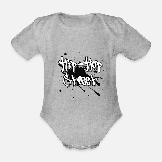 Street Dance Baby Clothes - Hip hop street - Organic Short-Sleeved Baby Bodysuit heather grey
