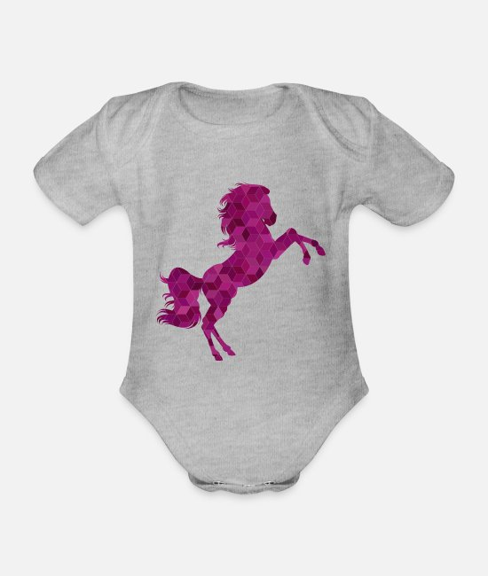 Horse Baby Clothes - T-Shirt | Horse for horse ladies - Organic Short-Sleeved Baby Bodysuit heather grey