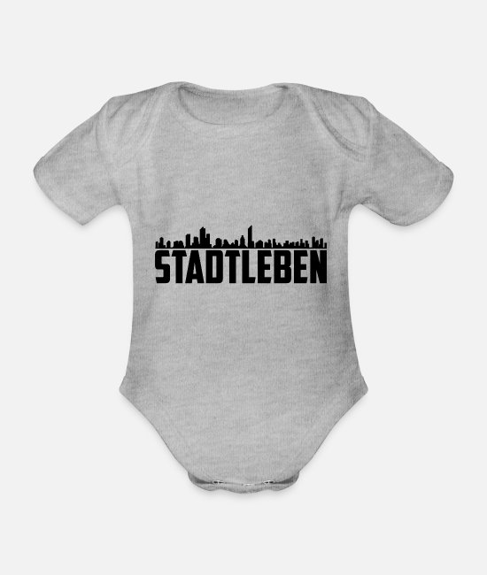 2019 Baby Clothes - T-Shirt | City Life Black - Organic Short-Sleeved Baby Bodysuit heather grey