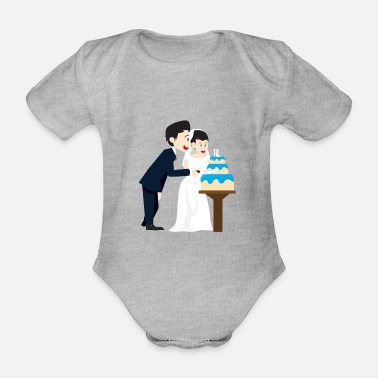 Wedding Couple Wedding marriage couple cake - Organic Short-Sleeved Baby Bodysuit