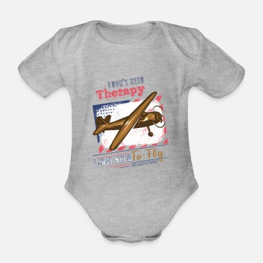 Jet Theraphy flying pilot saying - Organic Short-Sleeved Baby Bodysuit