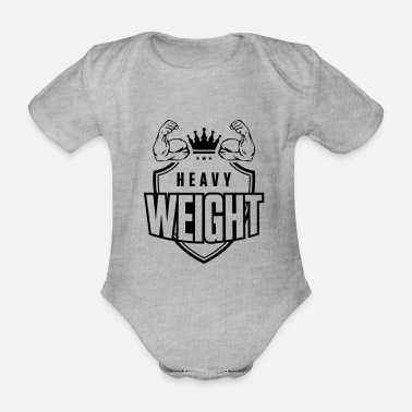 Heavyweight muscles arm biceps heavyweight - Organic Short-Sleeved Baby Bodysuit